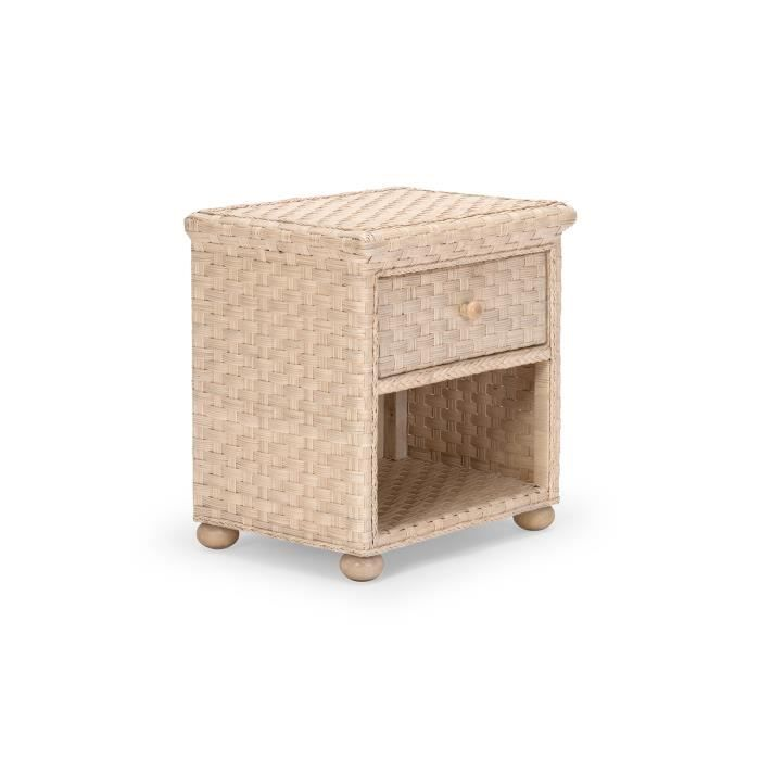 Table de chevet leona en rotin tress blanc vieilli massivum achat vente - Table de chevet en rotin ...