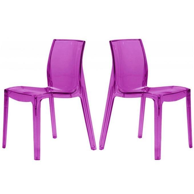 Lot De 2 Chaises Violette Transparente Lady Achat Vente Chaise Cdiscount