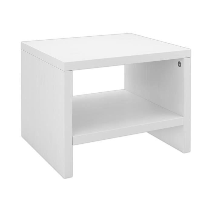 90.20-K5W table de chevet, console de nuit en pin massif blanc, design  contemporain et moderne