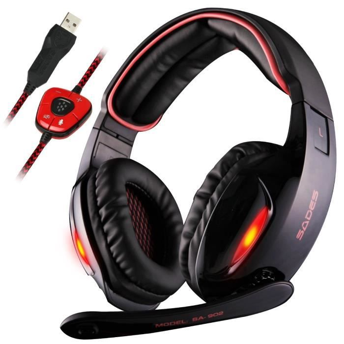 casque gamer pour pc laptop sa 902 usb gaming headset. Black Bedroom Furniture Sets. Home Design Ideas