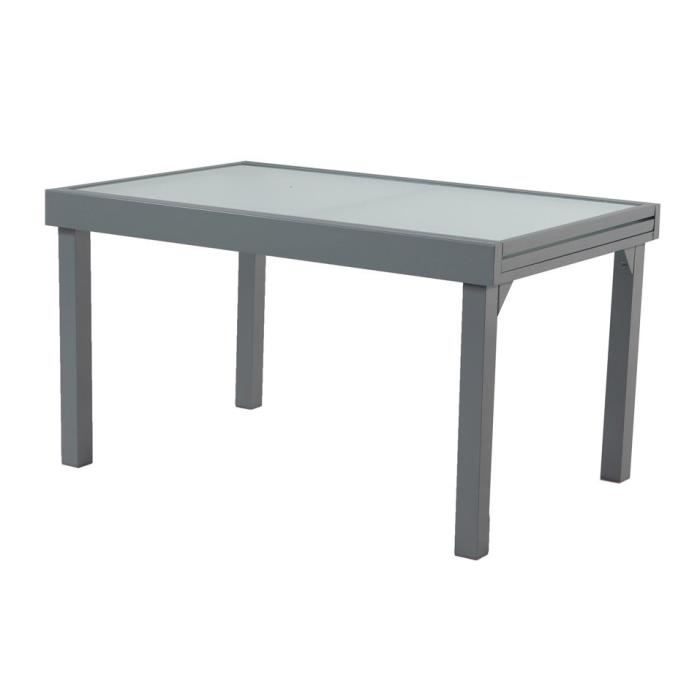 Table de jardin extensible en aluminium et verre long. 137-270cm ...