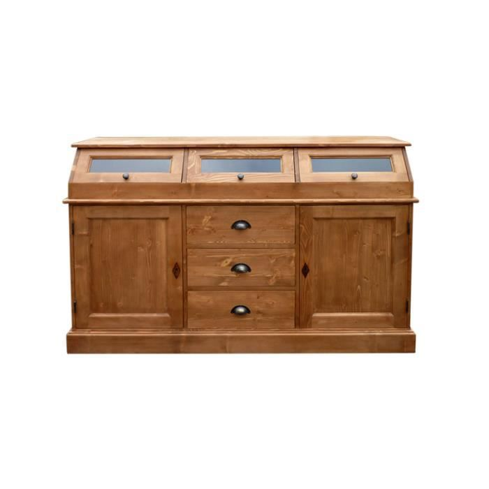 Meuble buffet bas trappes en pin massif cir achat for Meuble en pin massif