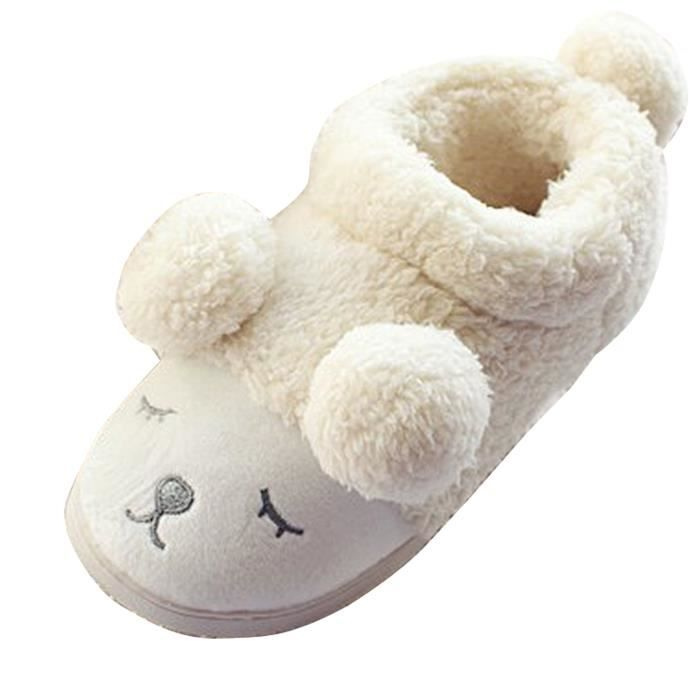 chaussons pantoufle mules femme confortable en coton forme mouton maison blanc achat vente. Black Bedroom Furniture Sets. Home Design Ideas