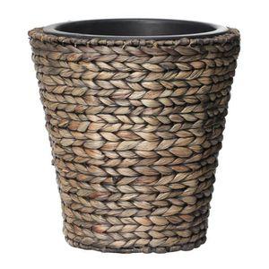 JARDINIÈRE - BAC A FLEUR Pot de fleur rond en jacinthe d'eau tressée - 28 x