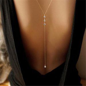 SAUTOIR ET COLLIER Femmes Long collier dos nu or argent cristal stras