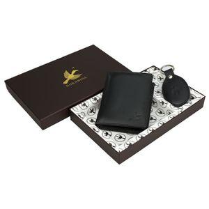 PORTE MONNAIE Porte-monnaie en cuir noir hommes et porte-clés AU