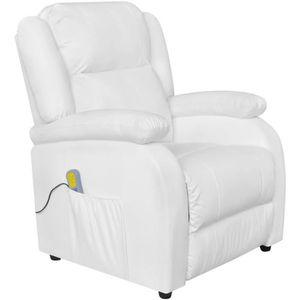 FAUTEUIL Fauteuil électrique de massage en Similicuir Blanc