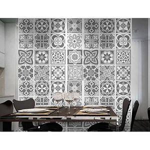 Pack de 48 stickers muraux motif carreaux gris achat for Carrelage mural motif