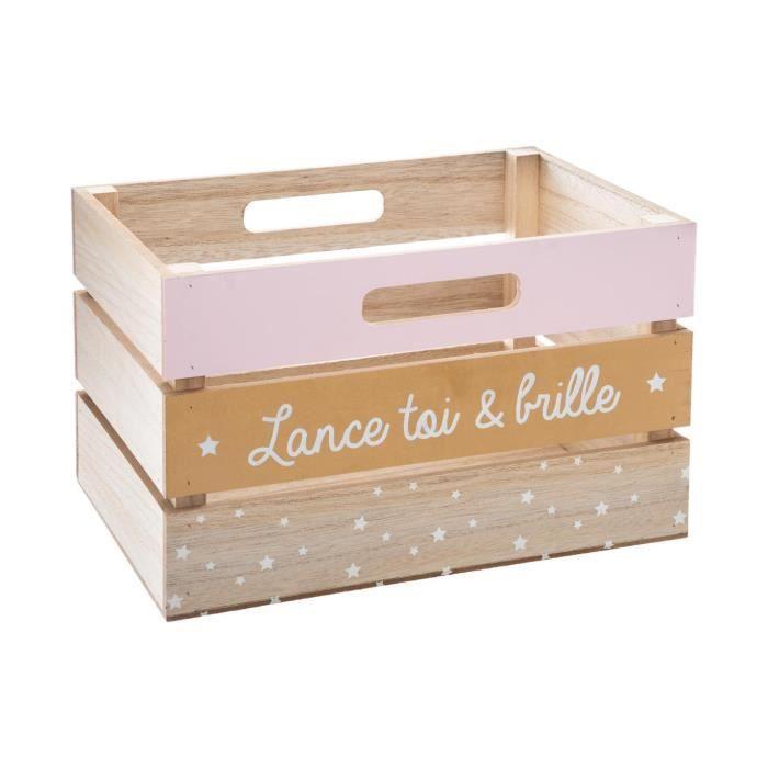 Atmosphera - Caisse de rangement Cagette en bois New Style Rose Multicolore