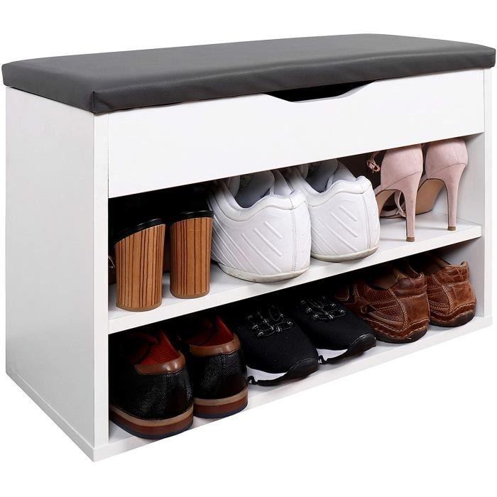 WM032-WM-A Meuble à Chaussures 60x42x30cm Bois Blanc Banc Coffre Rangement Commode Banquette Meuble de Rangement Chaussures Cou[95]