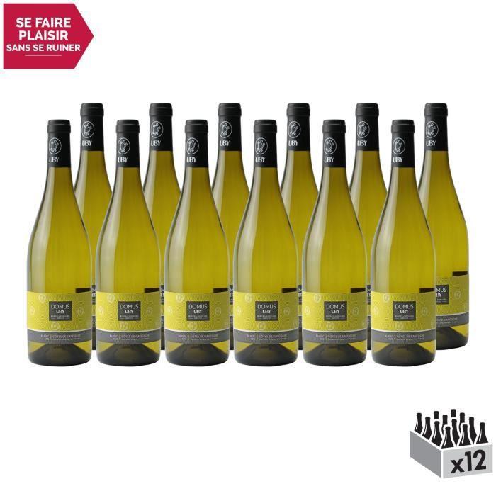 Côtes de Gascogne Domus Colombar Sauvignon Sec Blanc - Lot de 12x75cl - Domaine d'Uby - Vin IGP Blanc du Sud-Ouest