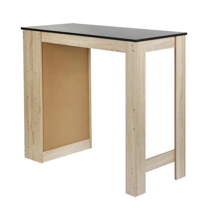 Table Bar avec rangement pour 2 à 4 personnes Panneaux de Particules Melamines - Chêne/Noir