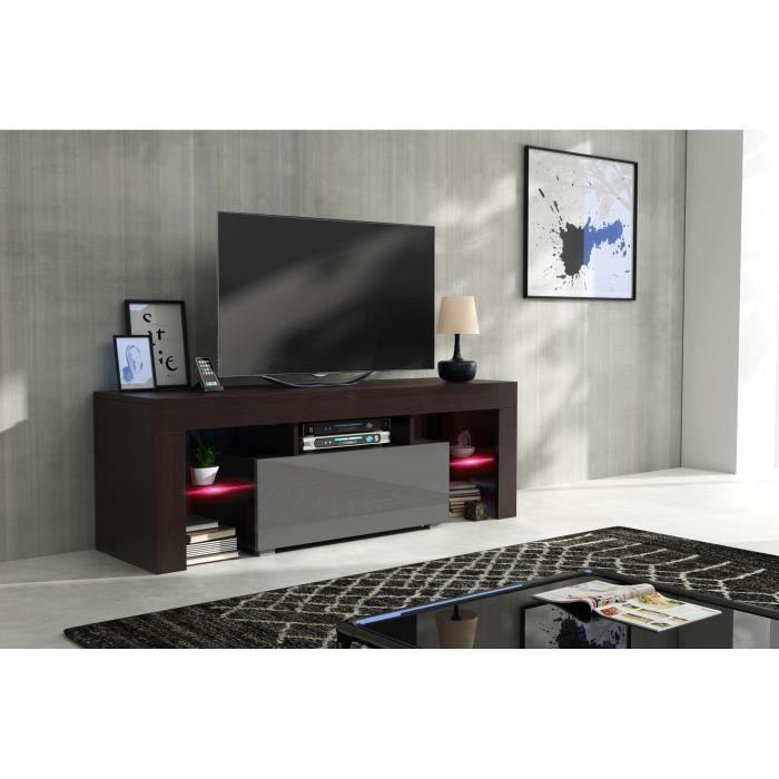 Meuble tv 130 cm Wengé et gris laqué + RGB