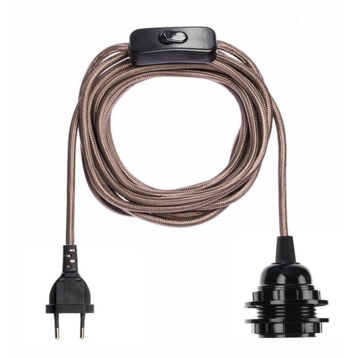 Suspension luminaire - Fil électrique tissu 4,5m E27 avec interrupteur - 38 coloris - HOOPZI Bala - Mica Brown Shine