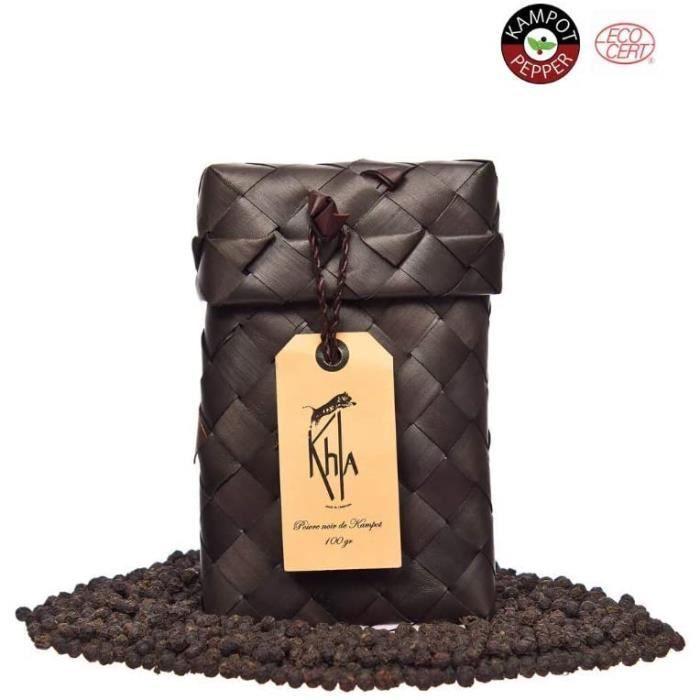 KHLA - Poivre Noir de Kampot Premium IGP - 100g - Poivre en Grains - Agriculture Biologique - Emballage Traditionnel Feuilles de Pal