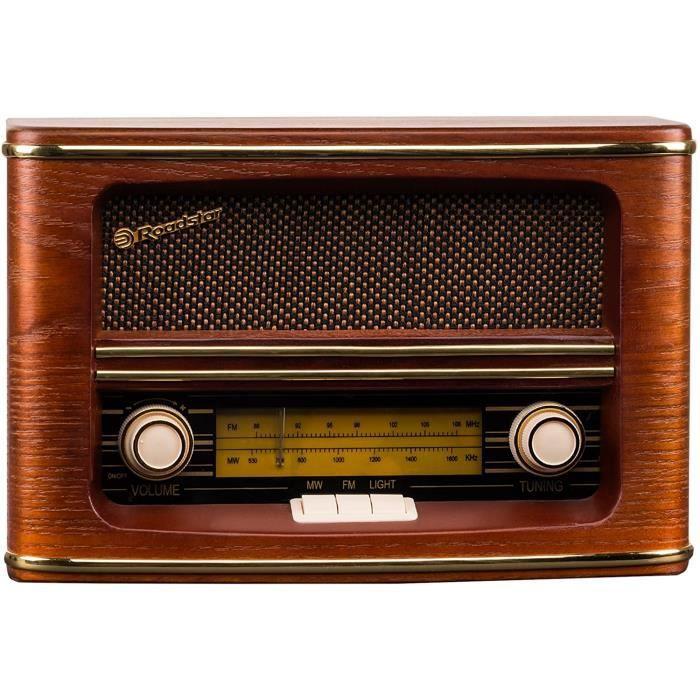 RADIO CD - RADIO CASSETTE - FM Roadstar HRA-1500-N Radio de Style Retro Vintage en Eb&eacutenisterie Bois Tuner AM-FM181