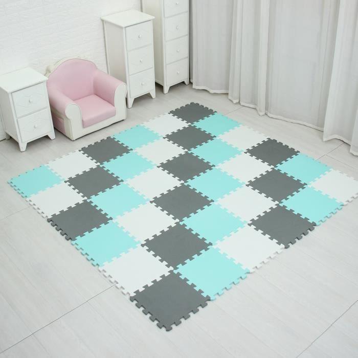 Tapis d'éveil,Tapis de Puzzle de jeu de mousse d'eva de bébé de meiqicool pour des enfants-tapis - Type white green grey-18 pieces