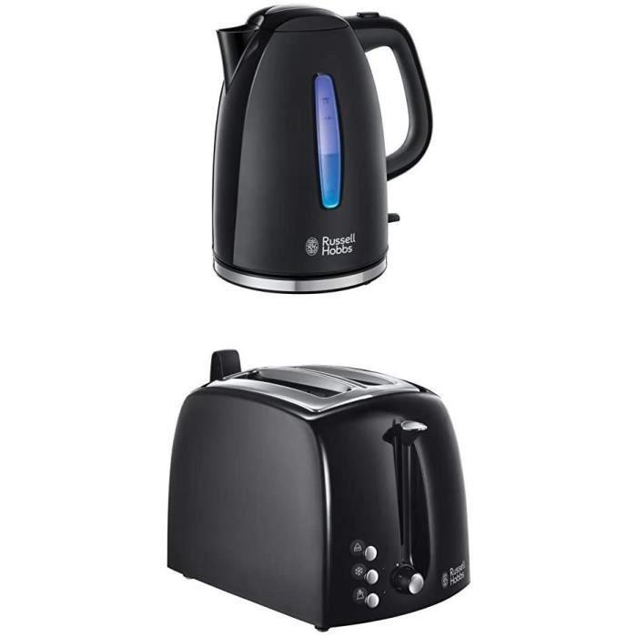 CAFETIERE Russell Hobbs Set Petit D&eacutejeuner Bouilloire et Grille Pain Toaster XL Texture Noir - 22591-70 et 22601-56599