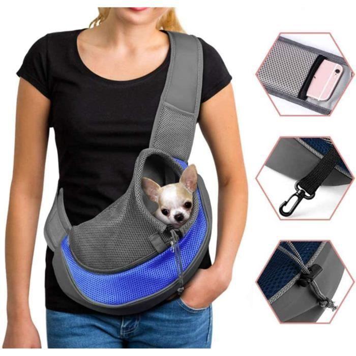 Sac à dos pour chien Sac à bandoulière réglable avec sac en filet respirant Petit sac de voyage pour animaux de compagnie-bleu