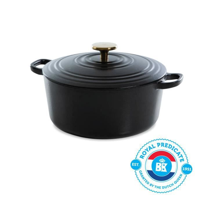 BK Cookware H6079.524 BK Bourgogne Cocotte en Fonte - Ronde - 24 cm - 4.2L - Revêtement émaillé - Couvercle avec Anneaux
