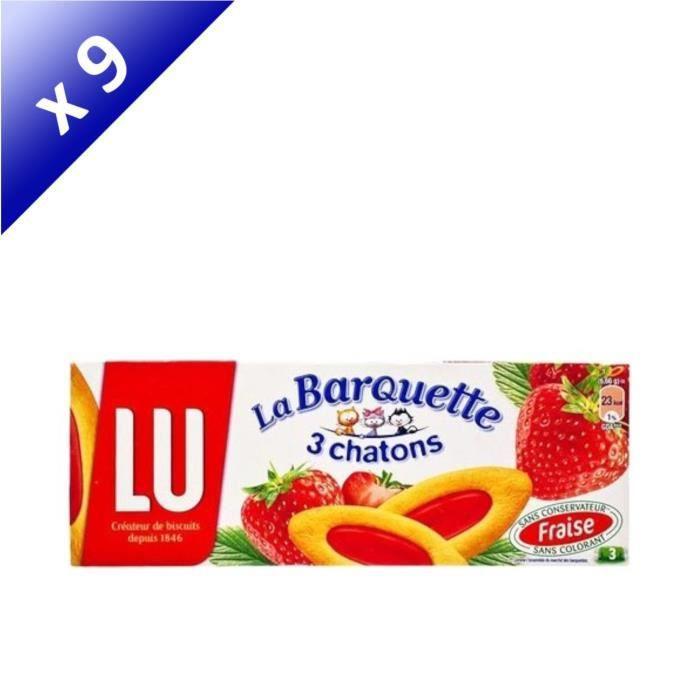 [LOT DE 9] LU La Barquette 3 chatons pulpe fraise