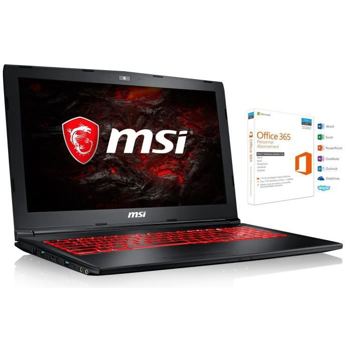 Msi pc portable gamer gl62m 7rex 2056xfr 156 ram 8go intel i5 stockage 1to gtx 1050 ti sans os office 365 personnel