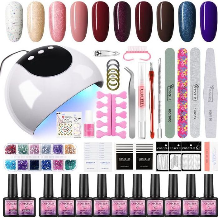 Kit Vernis Semi Permanent 24W Lampe UV/LED Vernis à Ongle Gel Nail Polish Top/Base coat Nail Art Outils Manucure Décorations