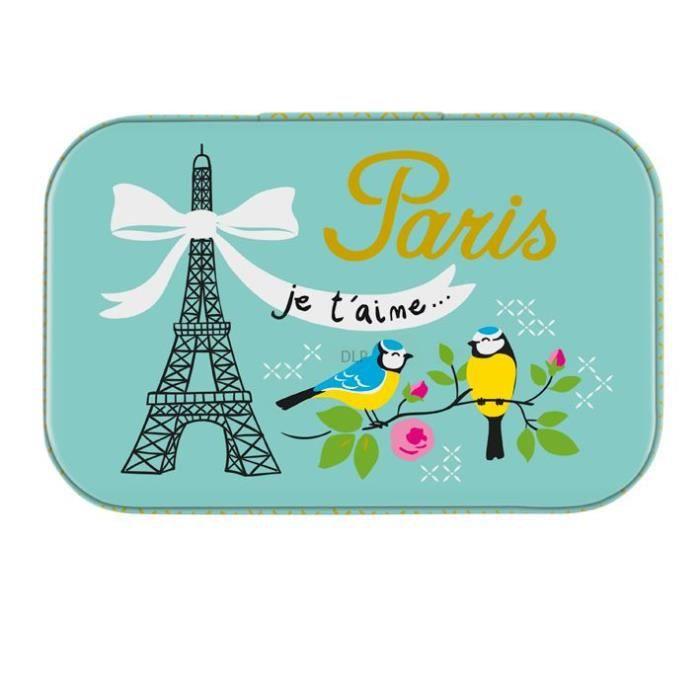 Petite Boîte à Tout PARIS JE T'AIME En Métal - De Rangement Souvenirs Images Ticket Bus Métro Cinéma DLP Derrière La Porte