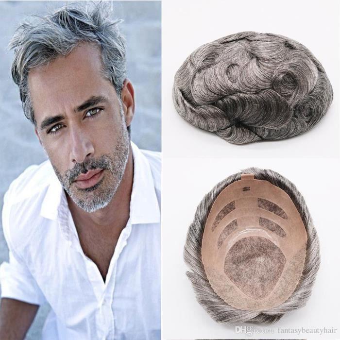6'' 8x10 Meilleur Qualité Naturel Brun Gris Mono Postiches Dentelle Main Attachée Postiches Human cheveux de remplacement Hommes