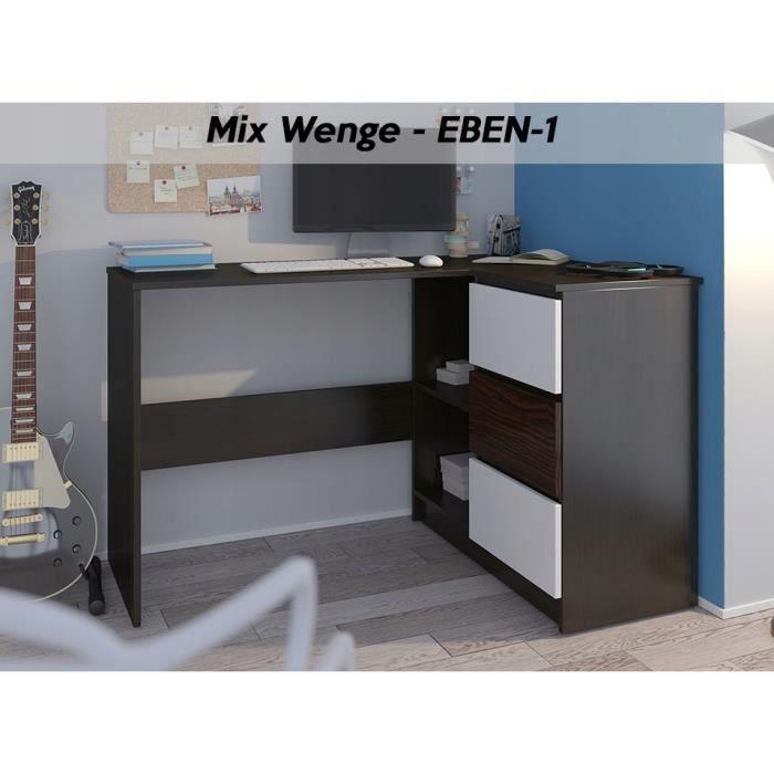 REX W - Bureau d'angle + rangements + 3 tiroirs - 112x87x76 - Table d'ordinateur - Table de travail - Wengé-Blanc-Ebène