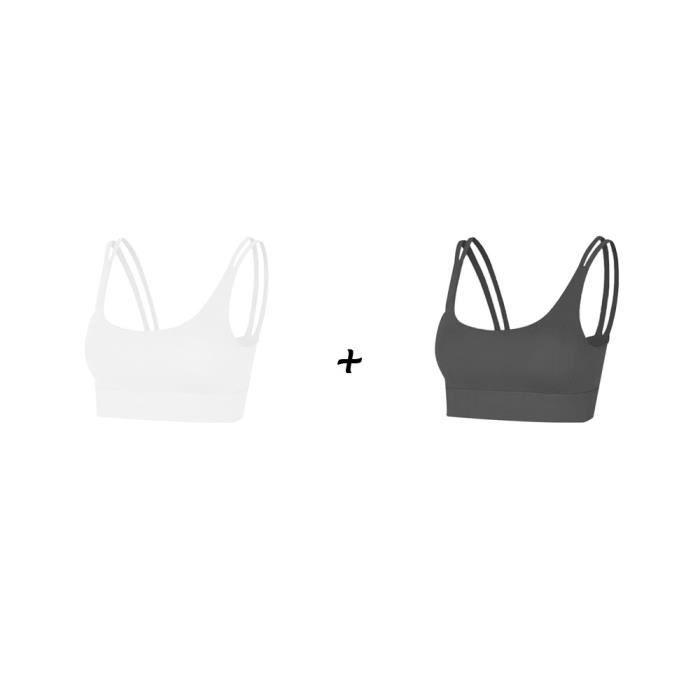 2 pièces Femme Sous vetements Bustier corset pour Jogging Yoga Gym Fitness(Couleurs différentes et Même taille)-M-Noir-Blanc