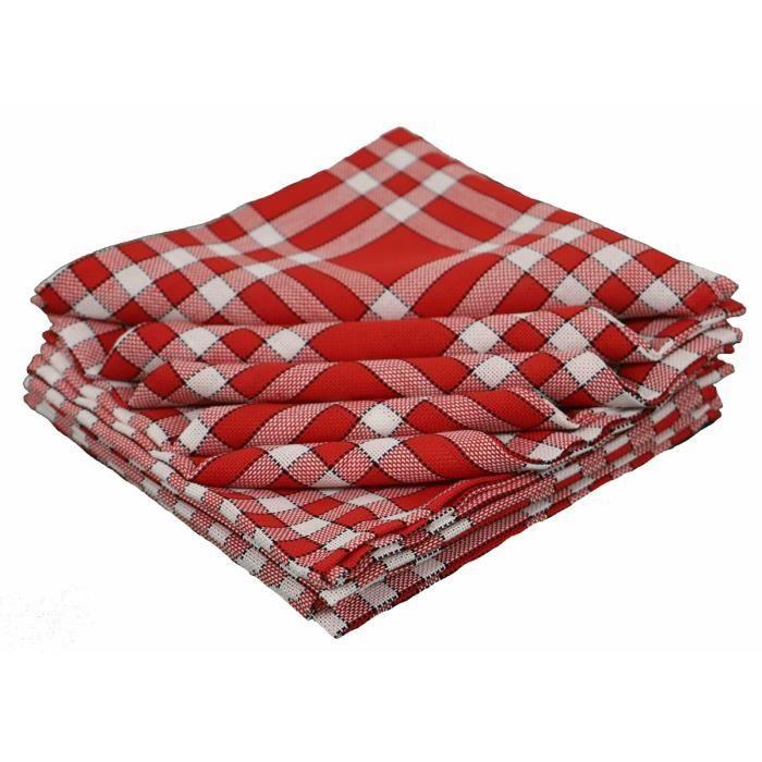 LINANDELLE - Lot de 10 serviettes de tables coton carreaux vichy Normand NELLY - Rouge