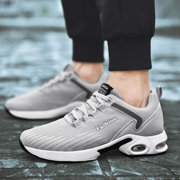 Chaussures de sport pour hommes Respirant et confortable en plein air Chaussures de course Casual Mode Hommes Chaussures Gris