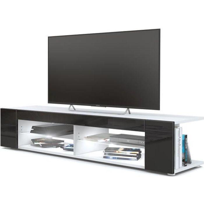Meuble Tv blanc mat Façades en noir laquées led Blanc