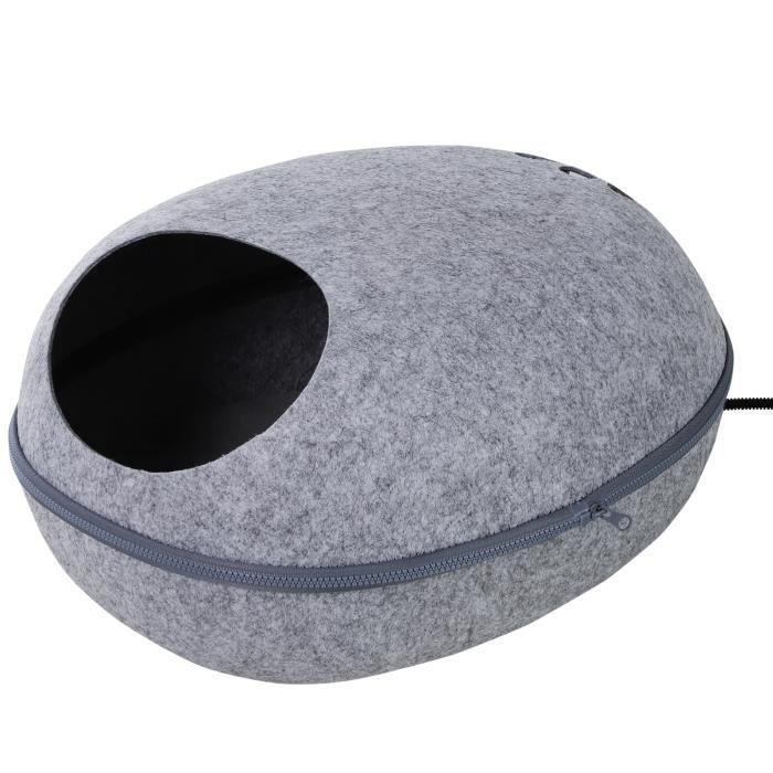 Coussin chauffant chat panier chat grand confort dim. 47L x 38l x 24H cm température max. 40°C polyester gris 47x38x24cm Gris