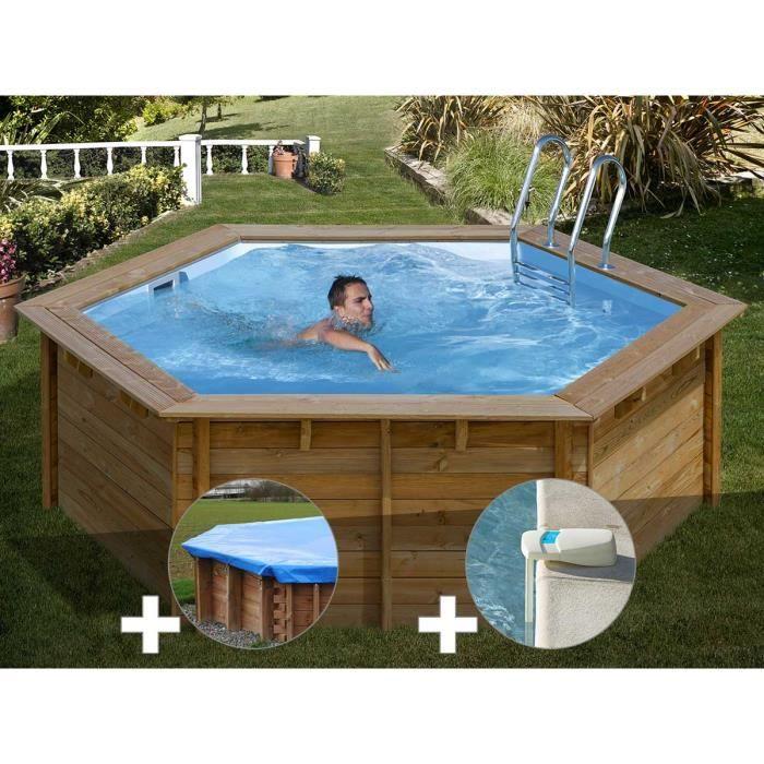 Kit piscine bois Sunbay Vanille First Ø 4,00 x 1,19 m + Bâche hiver + Alarme