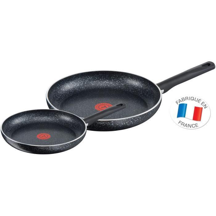 Tefal Brut Effet Pierre Lot De 2 poêles 24 et 30 cm Tous Feux Dont Induction C2649002