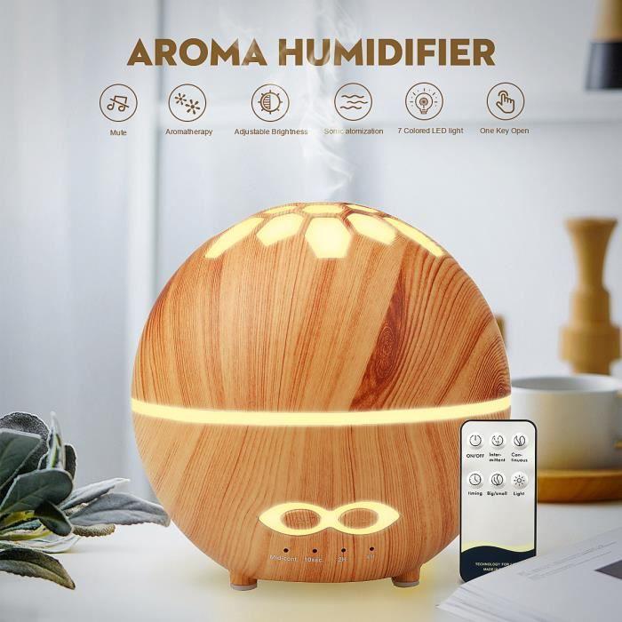 TEMPSA Humidificateur d'air Ultrasonique Aroma Diffuseur d'huile essentielle 7 Couleurs changeantes avec Télécommande Clair