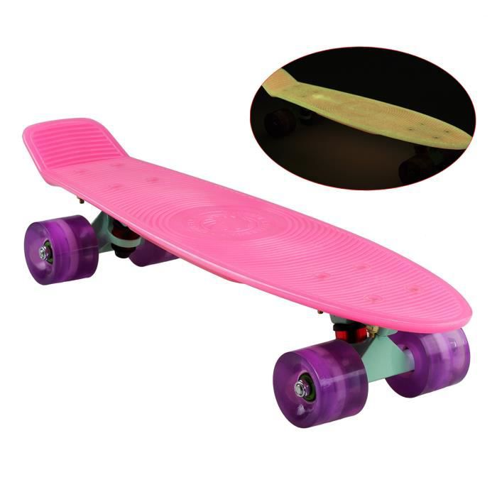 losenka skateboard complet cruiser lumineux avec planche 560x140mm en pp roues en pu 82a. Black Bedroom Furniture Sets. Home Design Ideas