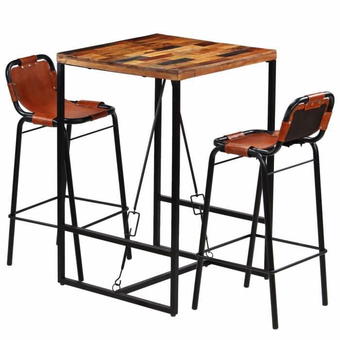 1 Table + 4 chaises Tidyard LEnsemble de Bar 5 pcs en Bois Massif Style Industriel