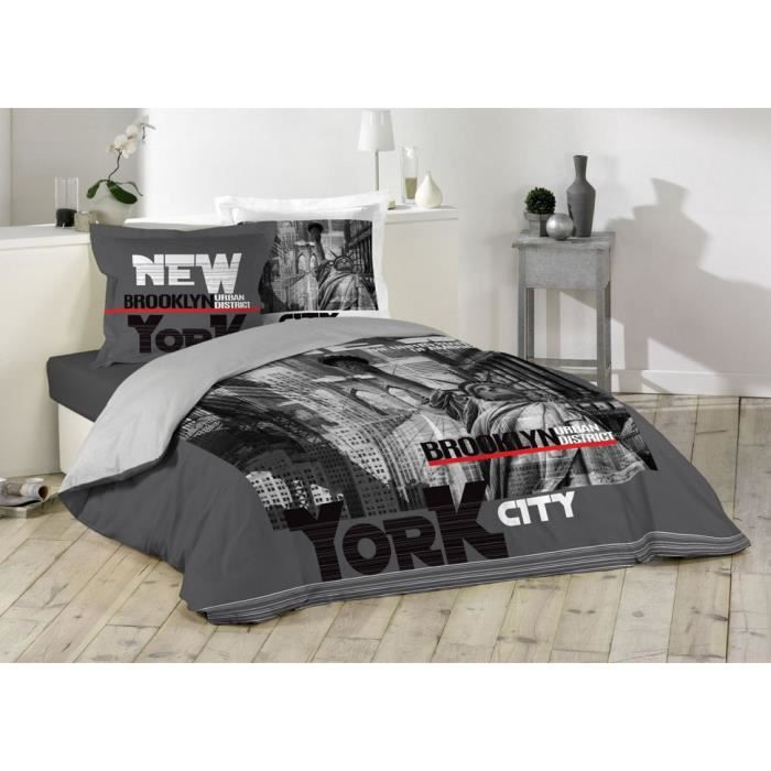 new york housse couette achat vente new york housse. Black Bedroom Furniture Sets. Home Design Ideas