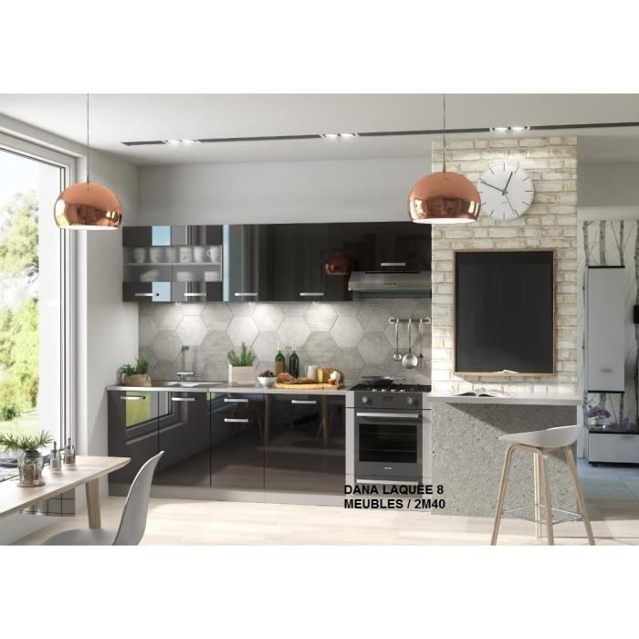 cuisine dana noir 2m40 avec electromenager achat vente. Black Bedroom Furniture Sets. Home Design Ideas