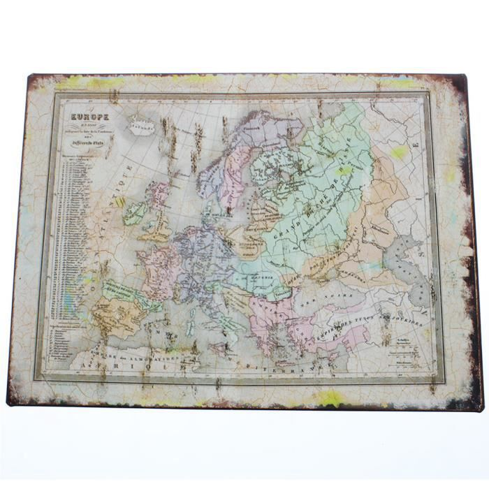 Plaque murale d corative vintage carte de l 39 europe en 1100 for Plaque decorative murale