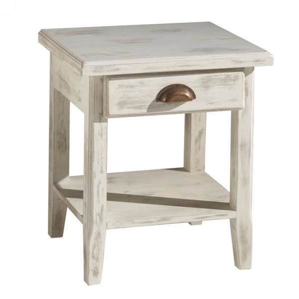 Table chevet 1 tiroir pin massif c rus blanc 39 achat for Table de chevet bebe