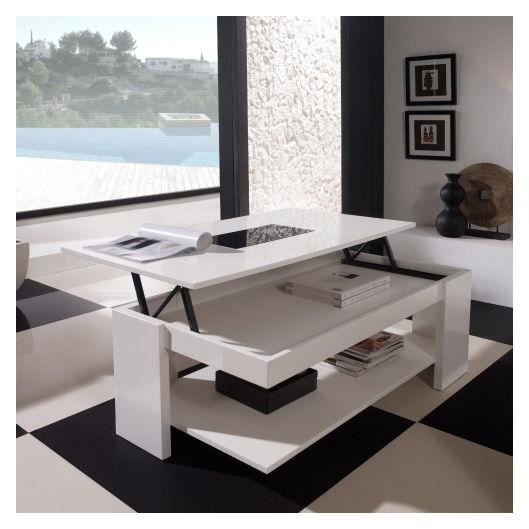 Table basse relevable design blanche achat vente table basse table basse - Table design blanche ...