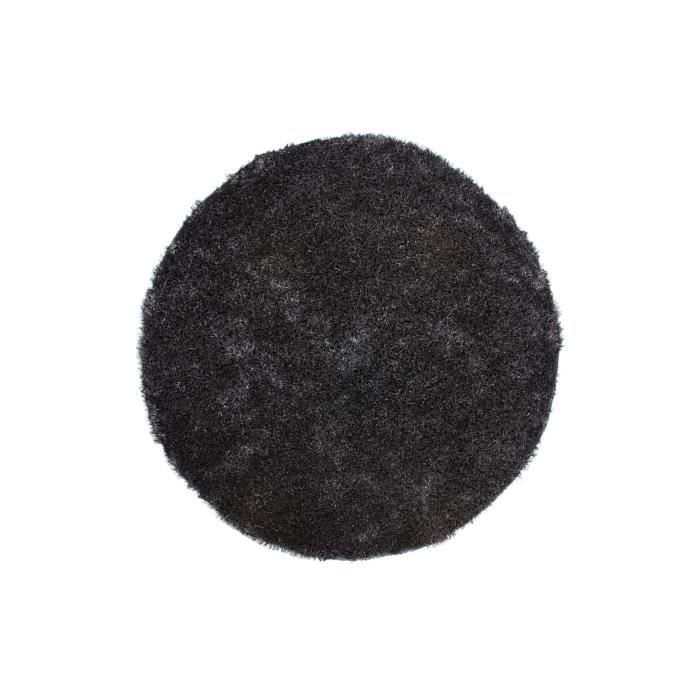 tapis shaggy uni anthracite 35 mm 200x200 cm rond achat vente tapis cdiscount. Black Bedroom Furniture Sets. Home Design Ideas