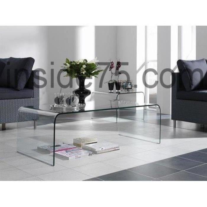bridge table basse en verre transparent design achat vente table basse bridge table basse en. Black Bedroom Furniture Sets. Home Design Ideas
