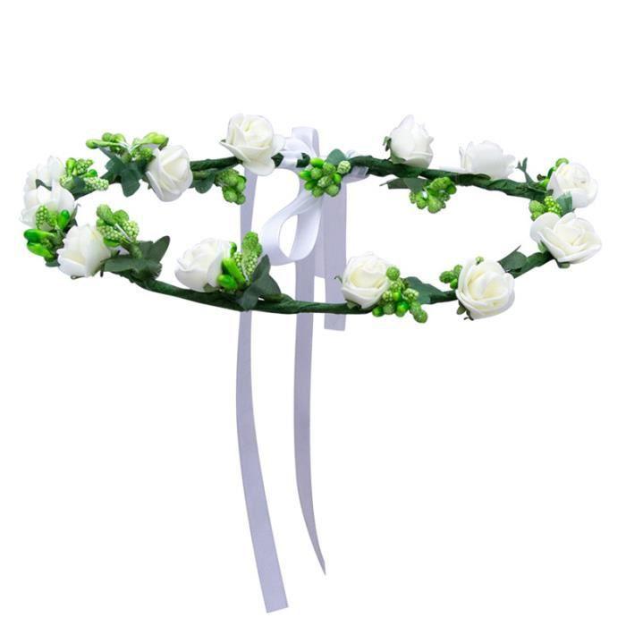 BANDEAU - SERRE-TÊTE Couronne à fleurs blanches avec feuilles et laçage