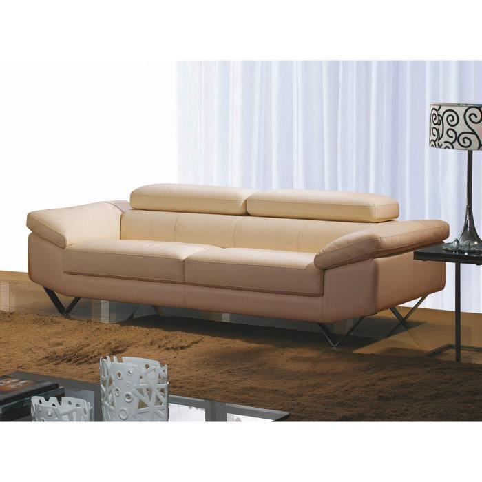 canap luxe cuir beige 3 places magnolia achat vente canap sofa divan cdiscount. Black Bedroom Furniture Sets. Home Design Ideas