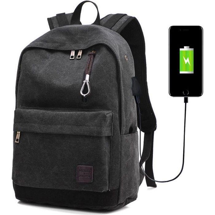 Sac à Dos Hommes de Charge USB Rétro Toile Trou d'écouteurs Voyage Sport Décontractée Multifonctionnel Noir